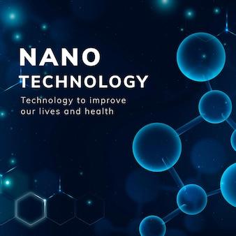 Nanotechnologie-molekularstruktur-vorlage vektor medizinische wissenschaft social-media-geschichte