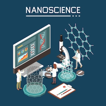 Nanowissenschaft forschungsinnovation nanotechnologie-zusammensetzung mit isometrischen bildern auf dem computermonitor mit organischer elektronik