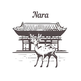 Nara landschaft mit hirsch, japan