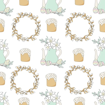 Narcissus ostern holiday seamless pattern