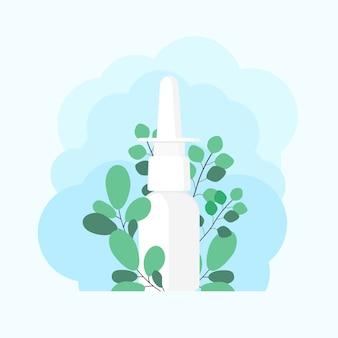 Nasenspray mit eukalyptuszweigen. verwenden von sprays zur erleichterung der atmung bei allergien und krankheiten. konzept der medizin und behandlung von rhinitis und allergien. hno-konzept.
