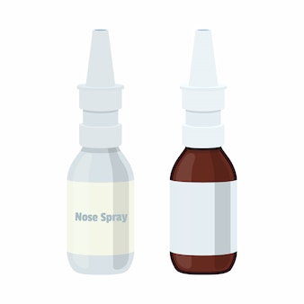 Nasenspray, nasenspender. medizin, apothekenbehälter, verpackungsgestaltung