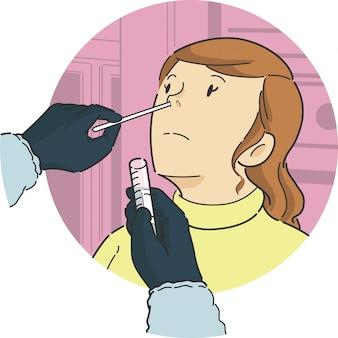 Nasentupfertest an einer patientin in vorderansicht zur überprüfung der probenprobe einer krankheitskrankheitsinfektion