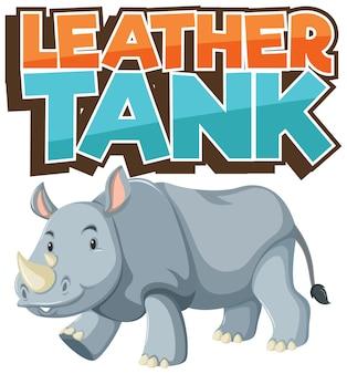 Nashorn-cartoon-figur mit leder-tank-schriftart-banner isoliert