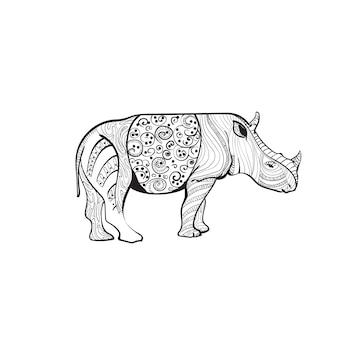 Nashorn, das zentangle-tier in voller länge auf weißem hintergrund zeichnet