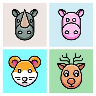 Nashorn, hourse, maus und hirsch