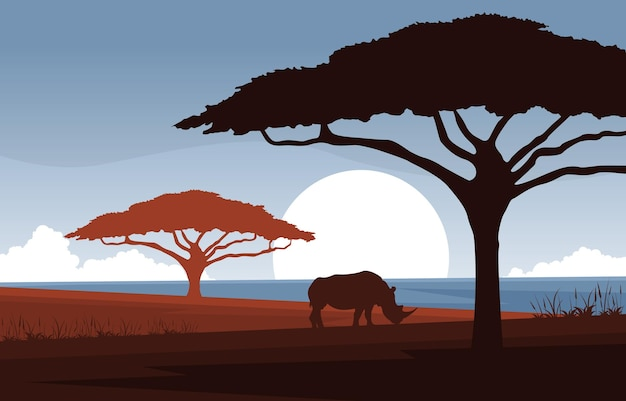 Nashorn tier savanne landschaft afrika wildlife illustration