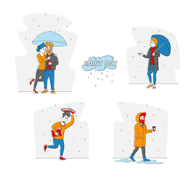 Nasse leute am regnerischen herbst- oder frühlingswettertag