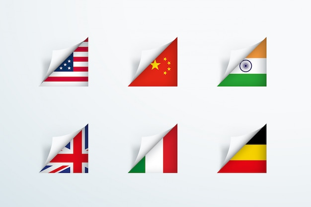 National flags peel back paper corner 3d set