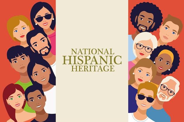 National hispanic erbe feier schriftzug mit menschen.