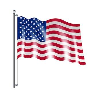 Nationale amerikanische flagge vereinigter staaten, die auf weißen hintergrund fließt