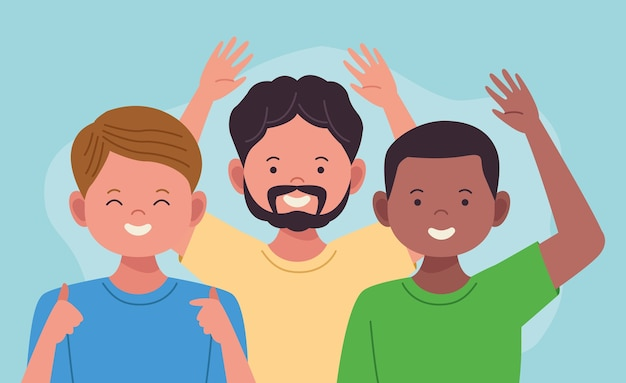 Nationale feier des hispanischen erbes mit interracialen männerfiguren