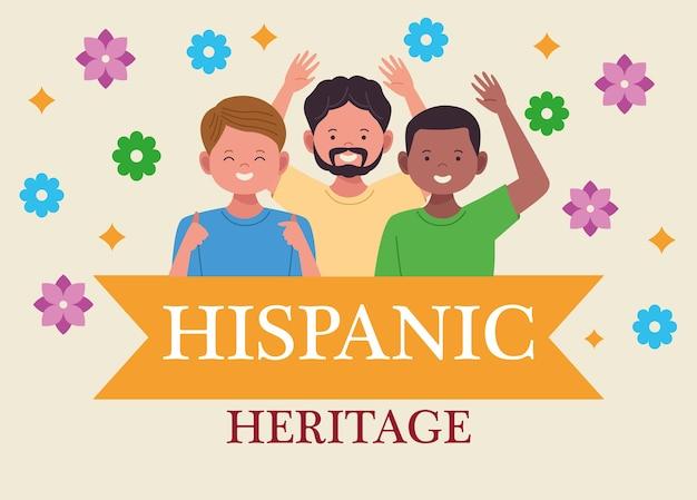 Nationale feier des hispanischen erbes mit interrassischen männern und schriftzügen