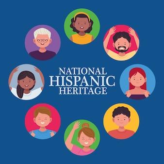 Nationale feier des hispanischen erbes mit menschen herum