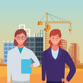 Nationale feier des werktagsbeschäftigungs-berufes, doktor mit geschäftsfrauarbeitskräften in der vorderen stadtbau-ansichtillustration