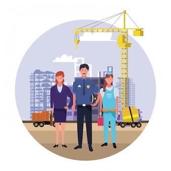 Nationale feier des werktagsbeschäftigungs-berufes, fachmannarbeitskräfte in der vorderen stadtbau-ansichtillustration