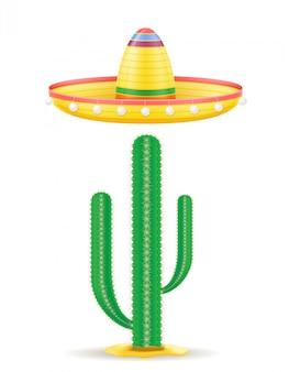 Nationale mexikanische kopfschmuck- und kaktusvektorillustration des sombrero