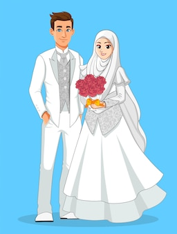 Nationale muslimische bräute in weißer und silberner kleidung.
