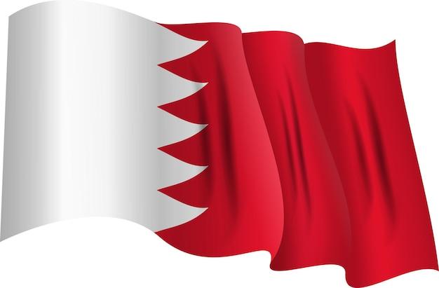 Nationale rot-weiße flagge des königreichs bahrain wehendes banner