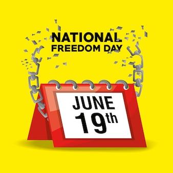 Nationaler freiheitstag mit kalender und kette