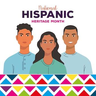 Nationaler monat des hispanischen erbes, gruppe von menschen zusammen, vielfalt und multikulturalismus-konzept.