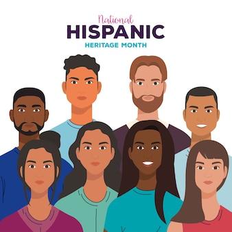 Nationaler monat des hispanischen erbes mit frauen und männern zusammen, konzept für vielfalt und multikulturalismus.