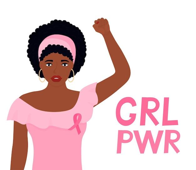 Nationaler monat zur aufklärung über brustkrebs. afroamerikanerfrau hob die faust. banner girlpower