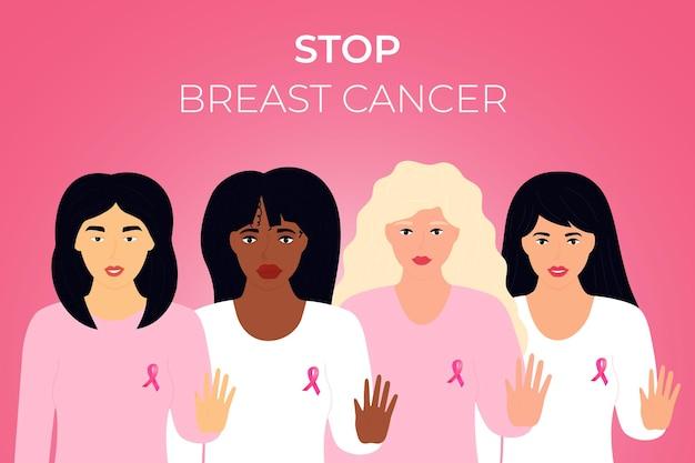 Nationaler monat zur aufklärung über brustkrebs. gruppe multiethnischer frauen mit rosa schleife auf der brust, die stoppgeste zeigt.