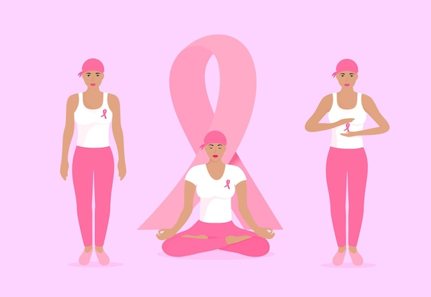 Nationaler monat zur aufklärung über brustkrebs. junge frauen in schals und mit rosa bändern auf der brust.