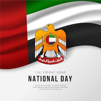 Nationaler tag der vereinigten arabischen emirate mit flagge
