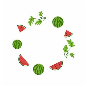 Nationaler tag der wassermelone in den vereinigten staaten. runder bilderrahmen mit wassermelone, wassermelonenscheibe und blättern. gestaltung des sommerfruchtfestes und des wassermelonenfestes. vektor-illustration