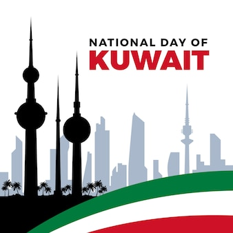Nationaler tag des flachen entwurfs von kuwait