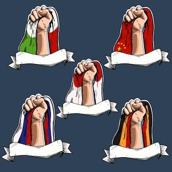 Nationaler unabhängigkeitstag italien, china, japan, deutschland, russland mit gravurstil