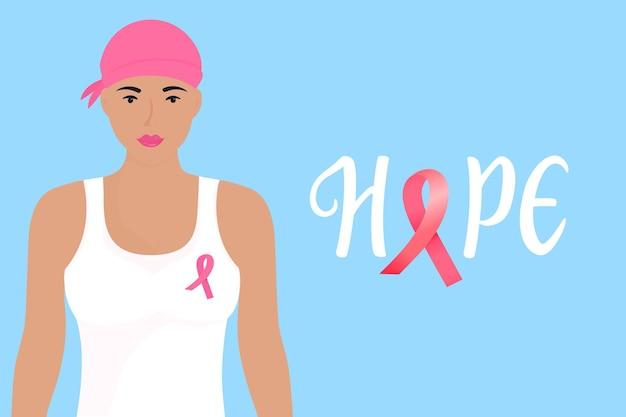 Nationales banner für den monat des bewusstseins für brustkrebs. hoffnung handgezeichnete schrift. ein mädchen mit einem schal auf dem kopf und einer rosa schleife auf der brust.