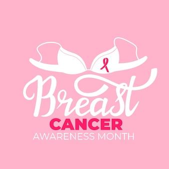 Nationales brustkrebs-bewusstseinsmonatsbanner mit bh und einem rosafarbenen band.