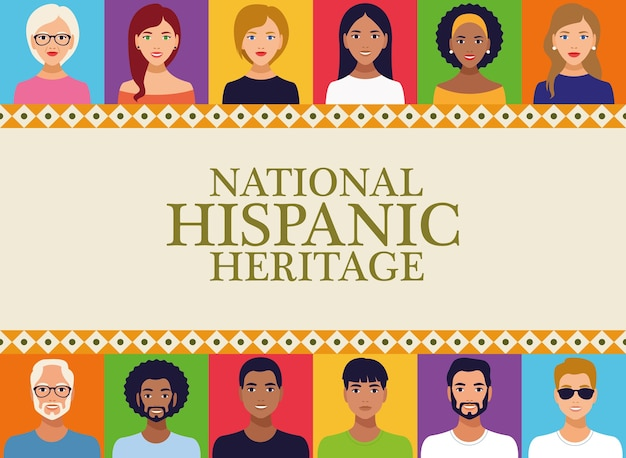 Nationales hispanisches erbe feier schriftzug mit menschen im quadratischen rahmen.