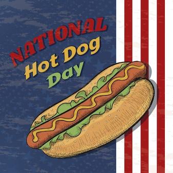 Nationales hot dog day vektorplakat im weinlesestil