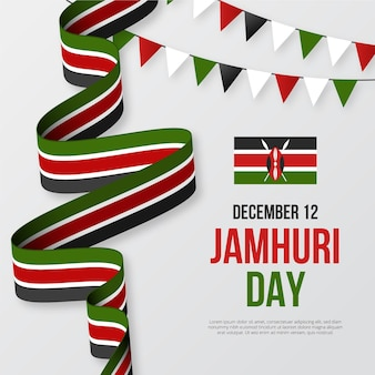 Nationales jamhuri-tagesband und girlanden des flachen designs