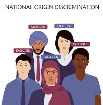 Nationales ursprungsdiskriminierungskonzept web oder werbebanner. gruppe von menschen unterschiedlicher rasse, nationalität und geschlecht. ungleiche rechte für auswanderer, ausgeschlossene menschen. .
