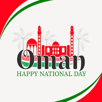 Nationalfeiertag der oman flachen illustration