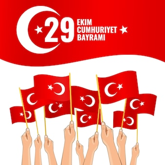 Nationalfeiertag der türkei. ekim cumhuriyet bayrami. übersetzung des textes 29. oktober tag der republik