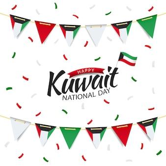 Nationalfeiertag kuwait. girlande mit der flagge von kuwait.