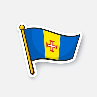Nationalflagge der madeira-länder in afrika standortsymbol für reisende vector illustration