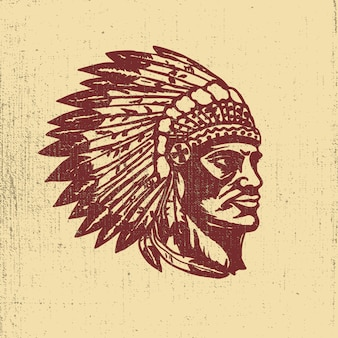 Native american chief head illustration. elemente für logo, etikett, emblem, zeichen. illustration