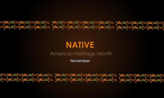 Native american heritage month im november kultur der indianer nationales ornament