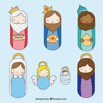 Nativity scene icons set