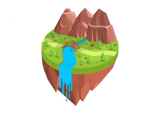 Natürlich isometrisch mit bergen und flüssen