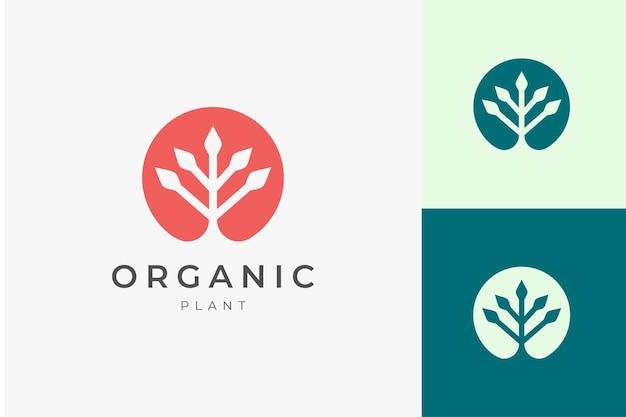 Natürliche bio-logo-vorlage mit einfacher und sauberer pflanzenform