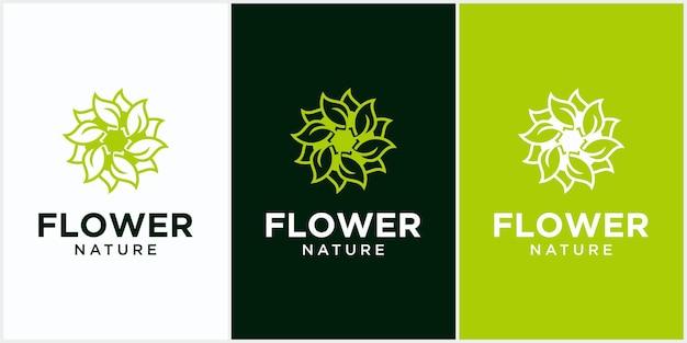 Natürliche blume gesundheit blatt logo kreatives kreis konzept logo design gesundheit blatt logo vorlage