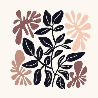 Natürliche blumenmuster abstrakte formen und blätter weißen hintergrund handzeichnung